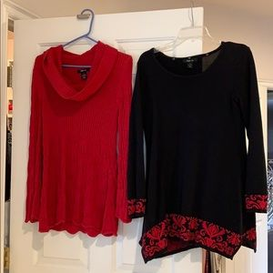 Bundle of 2 long Sweaters size Small Black Red